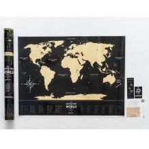 Stírací mapa světa Travel Map of the World Black