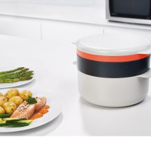 4-dílná sada nádobí JOSEPH JOSEPH M-Cuisine Microwave Stackable Set, Stone/Orange | BUYDESIGN