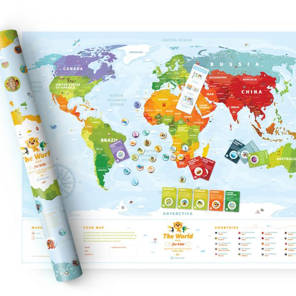 Stírací mapa Travel Map Kids Worlds