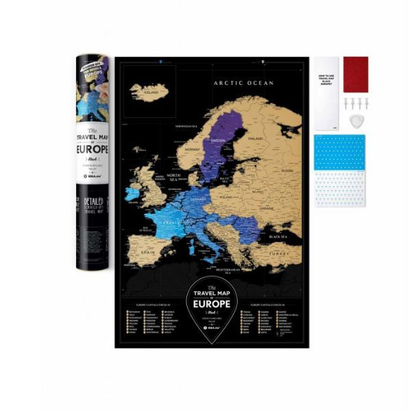 stírací mapa evropy travel map europe black